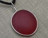 Red Frosted Like Beach Glass Pendant