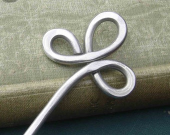 Trinity Clover Loops Aluminum Hair Stick, Shawl Pin, Beauty Gift, Bun Holder, Hair Pick Pin, Metal Hair Stick, Women, Long Hair Accessory