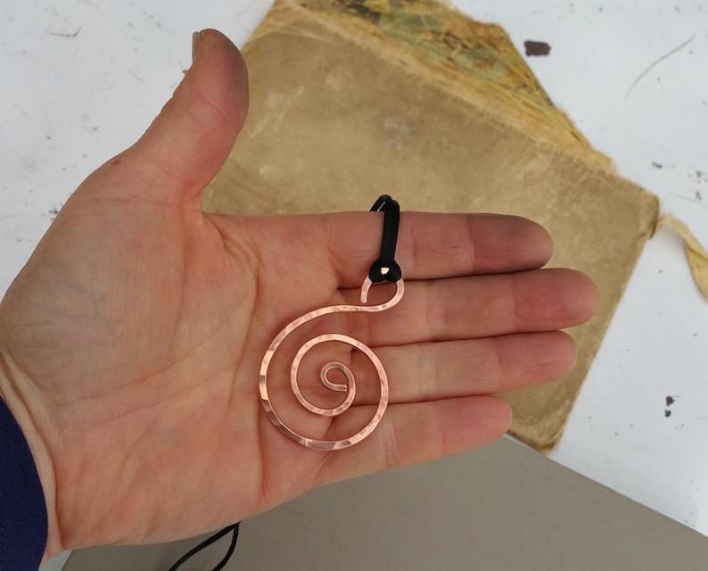 Gift for Women Metal Statement Spiral Necklace Large  Hammered Copper Necklace Big Spiral Copper Pendant