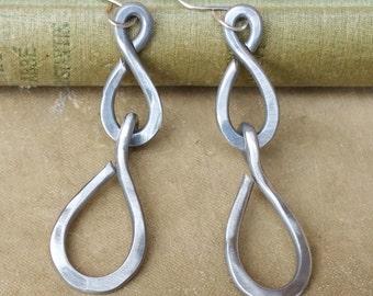 Long Teardrop Chain Earrings, Light Weight Aluminum Wire Jewelry, Raindrop Earrings, Handmade, Big Earrings, Women, Dangle and Drop Earrings