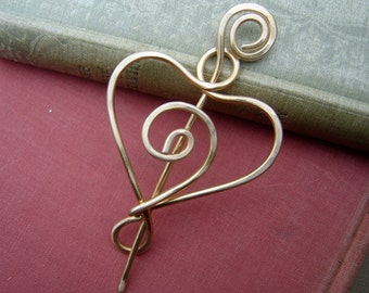 Brass Spiral Heart Shawl Pin, Scarf Pin, Sweater Clip Brooch, Closure, Wrap Fastener,  Knitting Jewelry, Gift for Crochet