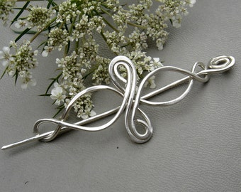 Little Celtic Infinity Loops Sterling Silver Shawl Pin, Scarf Pin, Brooch, Sweater Clip Lace Shawl Pin, Knitting Celtic Jewelry Accessories