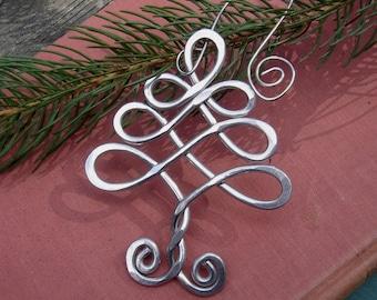 Celtic Christmas Tree Ornament, Christmas Ornament Handmade Holiday Ornament, Aluminum Tree of Life, Celtic Ornament Housewares Decoration