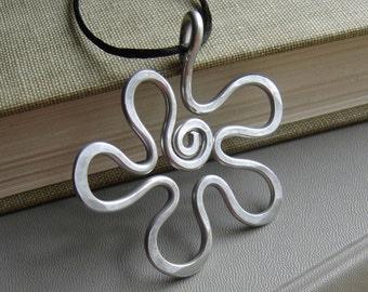 Big Retro Groovy Flower Pendant, Light Weight Aluminum Wire Big Necklace, Statement Jewelry, Spongebob Jewelry, Women, Teens Boho Jewelry