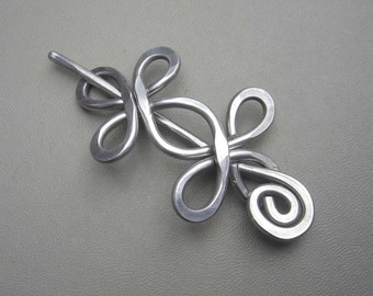 Celtic Double Crossed Loops Aluminum Shawl Pin, Hair Pin, Sweater Clip, Scarf Pin, Shrug Closure, Fastener, Brooch, Barrette, Beauty Gift