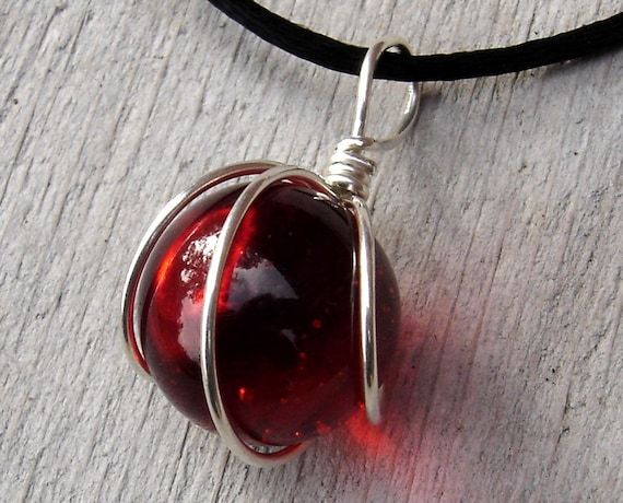 Blood Red Marble Wire Wrapped Jewelry Set