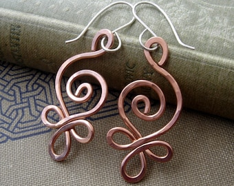 Celtic Budding Spiral Copper Earrings, Copper Celtic Gift for Women, Celtic Jewelry, Copper Jewelry, Irish Gift