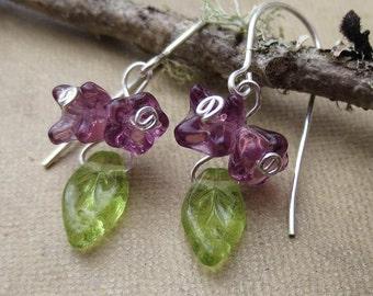 Little Lilac Cluster Purple Glass Flower Earrings, Dangle Earrings, Czech Glass Silver Wire Wrapped Flower Jewelry Flower Girl Jewelry Women