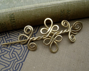 Little Brass Celtic Knot Double Swirls and Curls Shawl Pin, Scarf Pin, Sweater Clip, Little Hair Slide, Brooch, Hair Pin, Barrette, Knitting