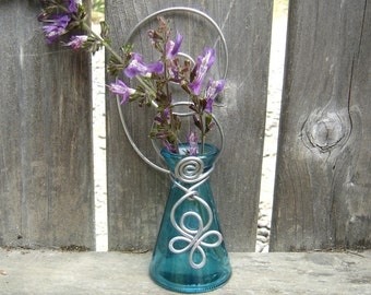 Teal Hanging Wall Vase, Gift for Mom, flower vase, plant rooter vessel, home decor housewarming gift, garden patio, bud vase kitchen window