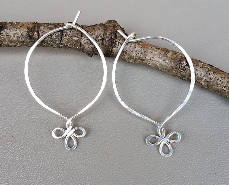 847efed94 Sterling Silver Endless Hoop Earrings Fancy Loop Silver Wire | Etsy