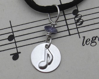 Small Music Note Pendant, Sterling Silver With Iolite, Gifts for Musicians, Music Teacher Gift, Music Jewelry, Tiny Music Note Necklace