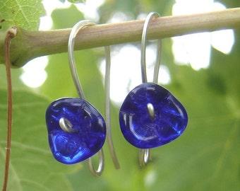 Cobalt Blue Glass Flower Earrings - Long Stem Flower Jewelry, Czech Glass Beads, Sterling Silver Wire Jewelry, Women
