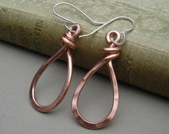 Copper Teardrop Earrings, Dangle Earrings, Copper Earrings, Teardrop Hoops, Bold Hammered Copper Hoop Earrings, Wire Copper Jewelry, Women