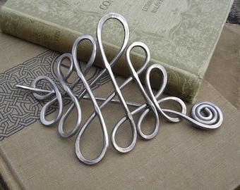 Large Looping Celtic Crossed Knots Aluminum Hair Pin, Hair Barrette, Hair Slide, Hair Clip, Shawl Pin, Long Hair Accessories, Celtic Knot