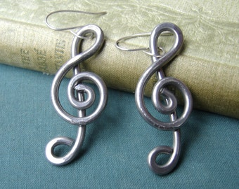 Big Aluminum Treble Clef Earrings, Music Note Earrings, Music Jewelry, Gift for Her Music Earrings, Women Musician Gift - Music Teacher