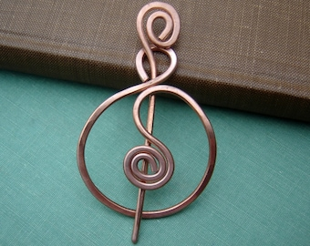Spiraling Full Circle Copper Shawl Pin, Scarf Pin, Sweater Brooch, Copper Fastener, Knitting Crochet Accessories, Wrap Closure, Wrap Holder