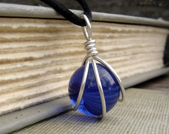 Cobalt Blue Glass Marble Pendant, Cobalt Blue Glass Necklace Wire Wrapped Sterling Silver Necklace, Blue Marble Jewelry, Marble Necklace