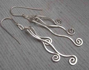 Tangle Dangle Swinging Vines Long Silver Earrings, Sterling Silver Dangle Earrings, Fringe Jewelry, Women, Silver Wire Earrings