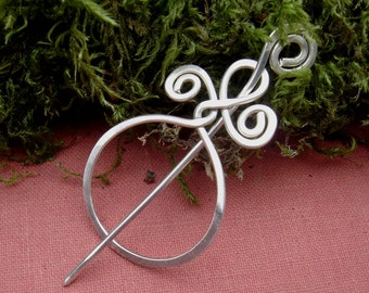 Little Circle With A Twist Sterling Silver Lace Shawl Pin, Scarf Pin, Sweater Brooch, Wrap Fastener, Women Gift for Knitting Accessories