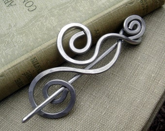 Aluminum Dancing Swirls and Waves Shawl Pin, Scarf Pin, Sweater Brooch, Hair Pin, Light Weight Hair Accessories, Knitting Knitter Gift Women