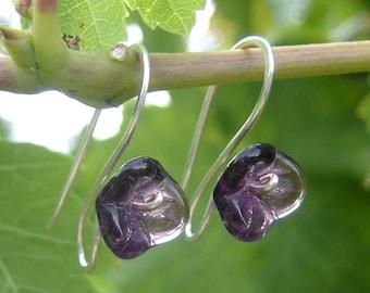 Long Stem Amethyst Purple Glass Flower Earrings, Purple Flower Jewelry  Women, Jewellery, Czech Glass Earrings Gift for Her