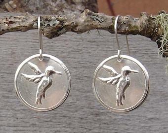 Sterling Silver Hummingbird Earrings, Hummingbird Jewelry  Bird Earrings, Christmas Gift for Her Light Weight Stamped Metal, Women Nature