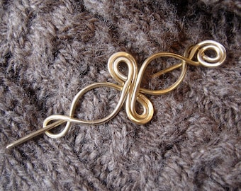 Celtic Infinity Loops Brass Shawl Pin, Hair Clip, Scarf Pin, Sweater Fastener Brooch, Hair Accessory Barrette, Celtic Knot Hair Slide, Women