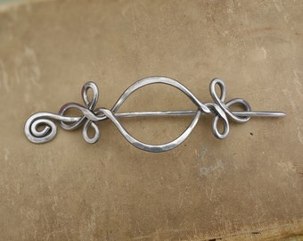 Celtic Hair Slide With Stick, Open Eye With Twist Aluminum Hair Pin, Hair Barrette, Hammered Metal Shawl Pin, Long Hair Clip,  Scarf Pin,