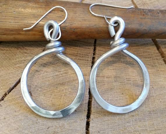 Big Double Hoop Very Light Weight Aluminum Pendant Necklace Handmade in Oregon Boho Modern