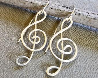 Treble Clef Earrings, G Clef Musicians Gift, Music Jewelry, Music Gift for Her, Women, Music Note , Music Teacher Gift, Choir Gift, Singer