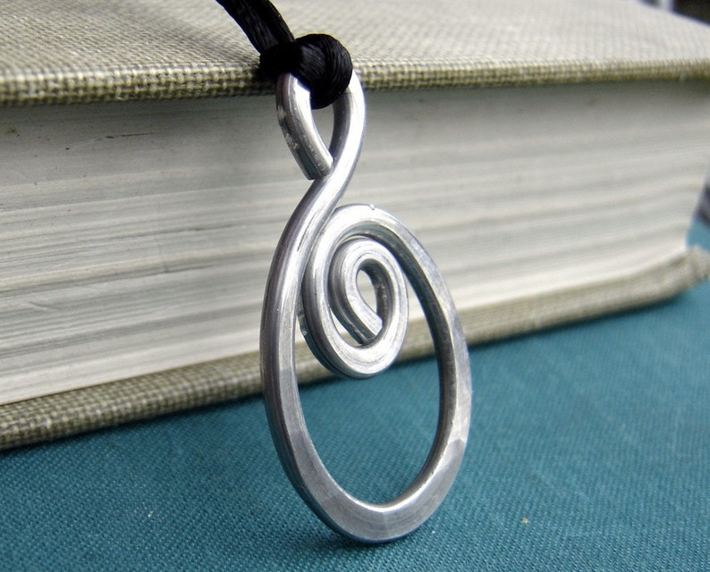 Big Oval Spiral Pendant Necklace Statement Necklace Light Weight Aluminum Jewelry Hammered Boho Jewelry Gift for Her Hand Forged Necklace