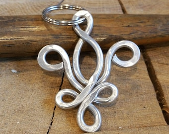 Fleur De Lis Key Chain, Aluminum Light Weight Wire Keychain,  Christmas Gift Key Ring, Accessories, Unisex Key Fob, New Orleans Gift, French