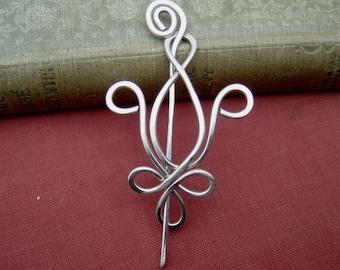 Fleur De Lis Sterling Silver Shawl Pin, Scarf Pin, Sweater Clip Closure, Brooch, Women, Knitting Accessory, Mardi Gras, New Orleans Jewelry