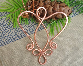 Copper Celtic Angel Heart Ornament, Christmas Gift Holiday Ornament, Wire Handmade Gift, Celtic Heart Decoration, Home Decor, Angel Ornament