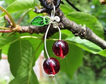 Cherry Pendant- Sterling Silver Wire Cherry Necklace, Red Glass Beads Cherries, Cherry Jewelry, Fruit Necklace Gift for Her Women