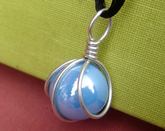 Turquoise Marble Pendant, Sterling Silver Wire Wrapped Glass Necklace, Sky Blue Necklace Marble Jewelry, Glass Jewelry Pendant Necklace