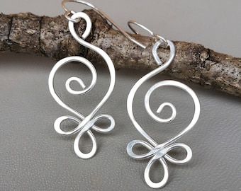 Celtic Spiral Sterling Silver Wire Earrings, Very Light Weight Celtic Earrings, Women Gift for Her, Everyday Jewelry