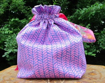 Knitting Project Bag | Big Pink Stitches | Yarn and Kittens | Crochet | Small | Maker's Drawstring Bag |  Sock Bag | Mitten Sack | Purse