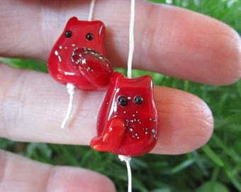 Silver Speckled Red Kitten Bead Handmade Lampwork Earring Pair by teribeads - Elaspeth and Sue, Tiny FatCat Twins