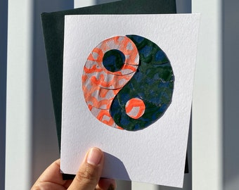 Yin and Yang Collage Card, Handmade, Original, Hand-painted, One of a Kind, Paper Crafts, 2020