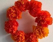 Hanging Marigold / Cempazuchitl Paper Crepe Wreath - Handmade - Medium