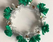 Handmade Winter Holiday Wreath Ornament - Materials: Paper Crepe and Tinsel - Green, Silver, White - 2019