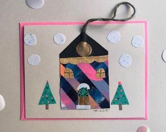 Hanging Ornament Card - Winter Edwardian House - London - 2017