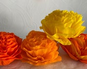 """Four Colors, (4 Qty) - Large Handmade Paper Crepe Flowers, Marigolds/ Cempasuchil/ 6"""" Bloom, Made to Order, 2020"""