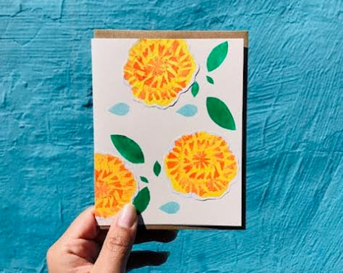 Featured listing image: Marigolds/ Cempazuchitls Collage Blank Card - 2018
