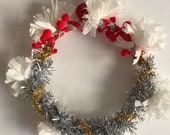 Handmade Winter Holiday Wreath Ornament - Paper Crepe - Red/ Silver/ Gold/ White - 2019