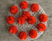 1 Dozen (12 Qty) - Handmade - Paper Crepe Pom-Pom Cempasuchils - Paper Crepe Marigolds.