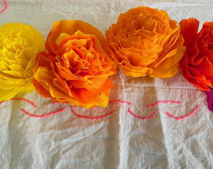"Featured listing image: Four Colors Sampler - (4 Qty) - 3.5"" Bloom, Cempasuchils/ Marigold Flowers - Handmade Paper Crepe Flowers, Dia de Los Muertos"