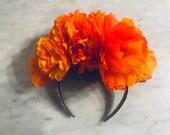 Dia de Los Muertos, Day of the Dead Headband, Marigold Headband, Cempasuchil,  Paper Crepe Dia de los Muertos Headband, 2020